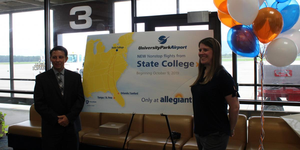 Bryan Rodgers, Director of University Park Airport and Kristen Schilling-Gonzales, Managing Director, Planning from Allegiant Ai